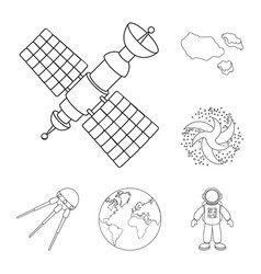 Space technology outline icons in set collection vector