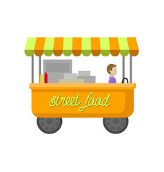 street food trailer food truck cartoon vector image