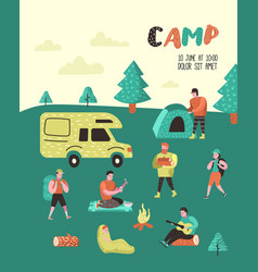 Summer camping poster banner people in camp vector