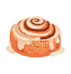 Sweet rolled pastry with cinnamon and creamy vector
