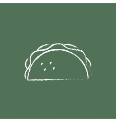 Taco icon drawn in chalk vector