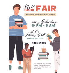 Template design for flyer or poster for book fair vector