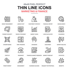 thin line marketing and finance icons set vector image