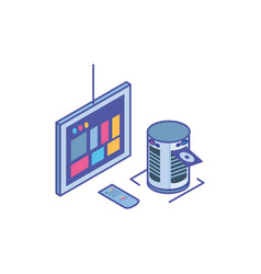 tv screen with remote control and server equipment vector image