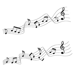 Two music note in wave style vector