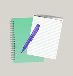 two notepads and a pen vector image