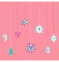 Winter hand drawn toys and snowflakes collection vector image
