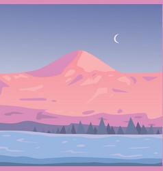 winter mountains landscape cartoon vector image