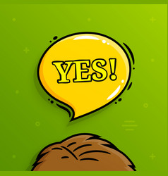yes banner speech bubble with human head vector image