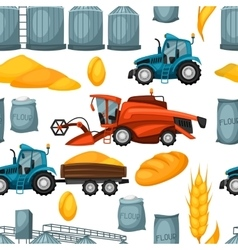 Agricultural seamless pattern with harvesting vector image