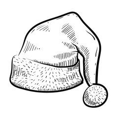 doodle santa hat vector image vector image