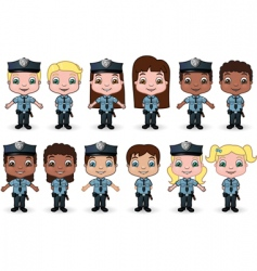 kids dressed as police vector image vector image