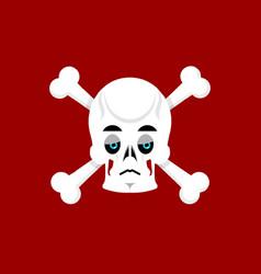 Skull and crossbones sad emoji skeleton head vector