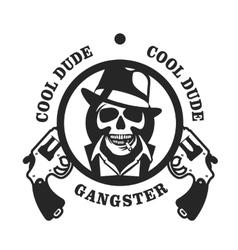 Skull in hat gangster vector image