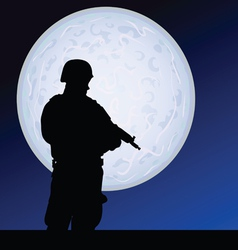 soldier in the moonlight color vector image vector image