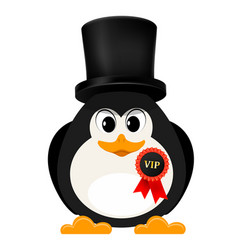 abstract penguin is free of charge with a badge vector image