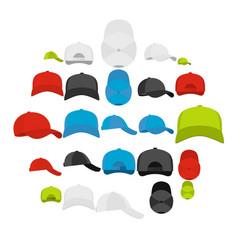 baseball cap views icons set simple style vector image