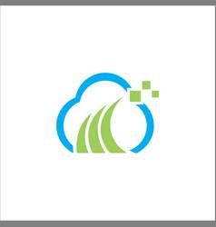 cloud digital technology logo vector image vector image