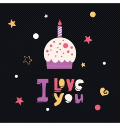 i love you cupcake card vector image vector image