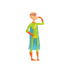 old superhero showing his biceps grandfather in vector image