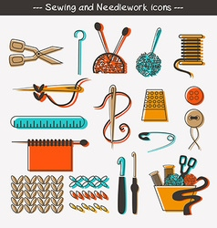 Sewing and needlework icons and design elements vector image vector image