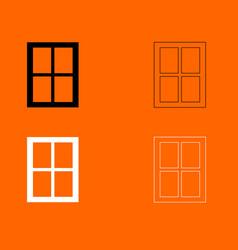 Window black and white set icon vector