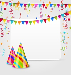 Celebration card with party hats confetti and vector image vector image