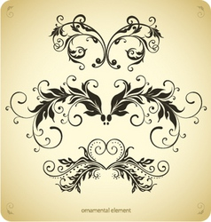 curled floral elements vector image vector image
