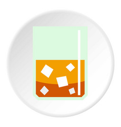 Glass of scotch whiskey and ice icon circle vector