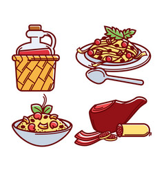 italian traditional delicious food isolated vector image vector image