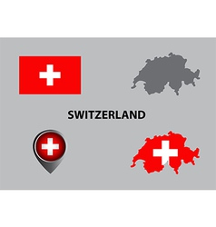 Map of Switzerland and symbol vector image vector image