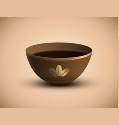 bowl of hot tea vector image