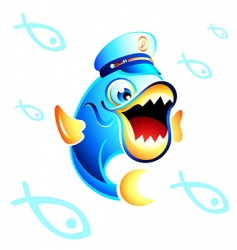 captain fish vector image vector image