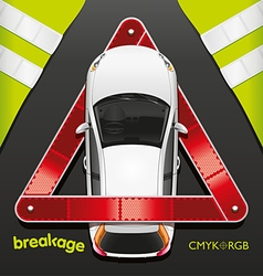 Car and breakdown triangle vector