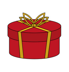 color image cartoon christmas rounded giftbox with vector image