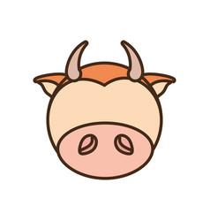 face cow cartoon animal vector image vector image