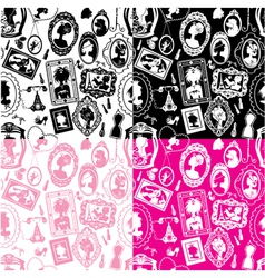 Set of seamless pattersn with glamour girl portrai vector image vector image