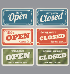vintage open and closed shop signs vector image