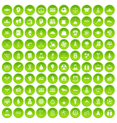 100 success icons set green circle vector