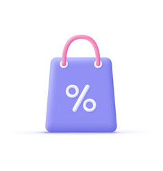3d cartoon shopping bag with percent sign online vector