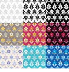 9 ethnic boho seamless flowers pattern vector
