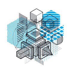 Abstract background with isometric lines and vector