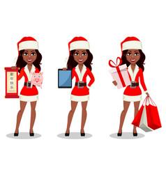 african-american woman in santa claus costume vector image