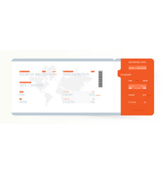 Airline boarding pass with world map template vector