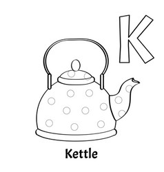 Alphabet letter k coloring page kettle vector