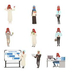 Arabian businessmen characters set business vector