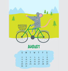 August calendar page with cute rat in travel vector