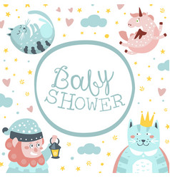 bashower banner template with cute fairy tale vector image