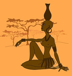 Beautiful African tribal seminude girl vector