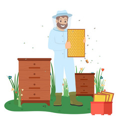 beekeeper with bees honey making business vector image